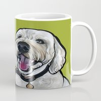 kermit Mugs featuring Kermit the labradoodle by Pawblo Picasso