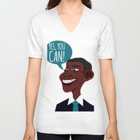 obama V-neck T-shirts featuring OBAMA by artic