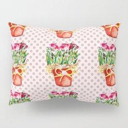 Polka Dots and Pots of Dried Roses Pillow Sham