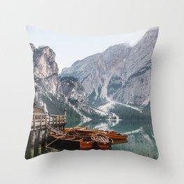 Day at the Mountain Lake Throw Pillow