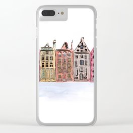 Coloured Houses Clear iPhone Case