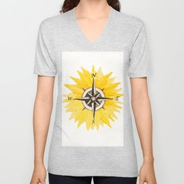 Compass  Sunflower Unisex V-Neck