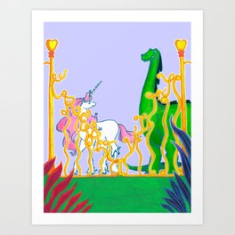 Eden of Creativity { The Unicorn & The Dinosaur } Art Print