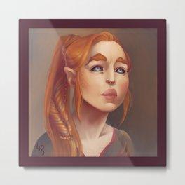 Redhead Elf Portrait Metal Print
