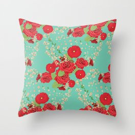 Red roses and poppies on teal Throw Pillow