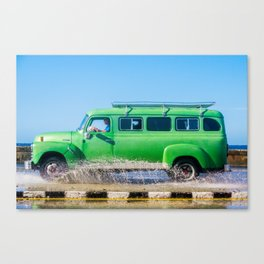 Waves and Classic Cars of the Malecón - 6 Canvas Print