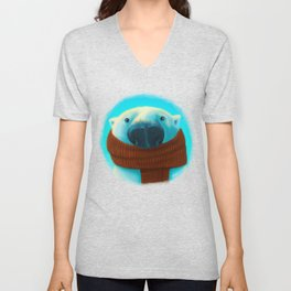 Polar bear with scarf Unisex V-Neck