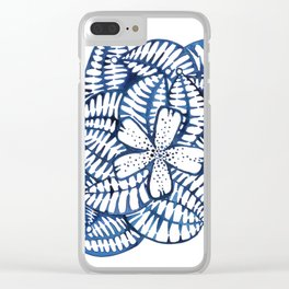 Indigo Frangipani Clear iPhone Case