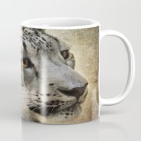 snow leopard Mugs featuring Snow Leopard by Jai Johnson