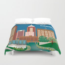 Indianapolis, Indiana - Skyline Illustration by Loose Petals Duvet Cover
