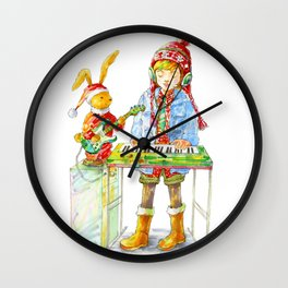 Indie Pop Girl at Christmas Time Wall Clock