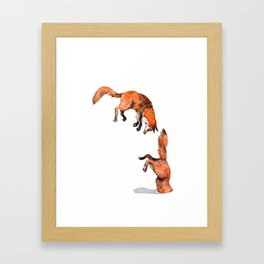 Jumping Red Fox Framed Art Print