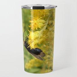 Yellow-Collared Scape Moth on Goldenrod Travel Mug