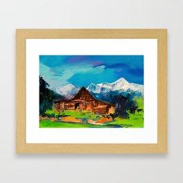 Sunny Day Over Teton Barn Framed Art Print