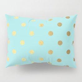 Gold polka dots on aqua background - Luxury turquoise pattern Pillow Sham
