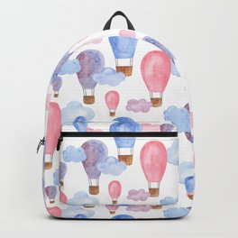 Watercolor air balloon. Pink and blue baby pattern. Nursery illustration. Kids art Backpack