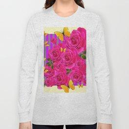PINK GARDEN ROSES & YELLOW BUTTERFLIES MODERN ART FROM SOCIETY6   BY SHARLESART. Long Sleeve T-shirt