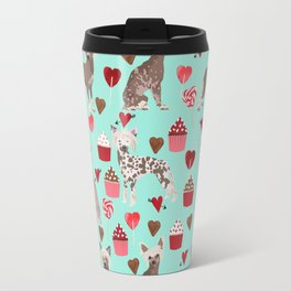 Chinese Crested valentines day cupcakes hearts gifts for unique dog breed owners love Travel Mug