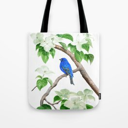 Royal Blue-Indigo Bunting in the Dogwoods by Teresa Thompson Tote Bag