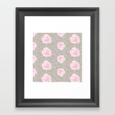 Watercolor roses on Taupe with French script Framed Art Print