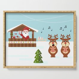 Christmas market cartoon illustration with Santa Claus behind the stand Serving Tray