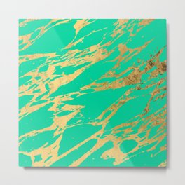 Gold Bright Teal Marble Stone Modern Pattern Metal Print