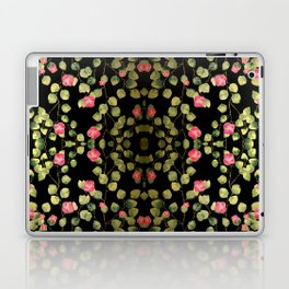 """Spring pink flowers and leaves - Black"" Laptop & iPad Skin"