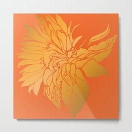 Golden Sunflower   Floral Illustration on Sunset Orange Metal Print