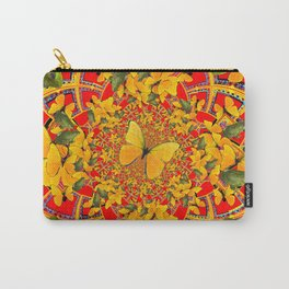 GREEN FROGS & BUTTERFLY RED MANDALA Carry-All Pouch