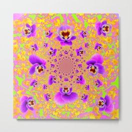PURPLE-LIME MODERN ART PURPLE-GOLDEN PANSIES Metal Print