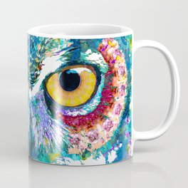 Colorful Horned Owl Art - Night Animal - Sharon Cummings Coffee Mug