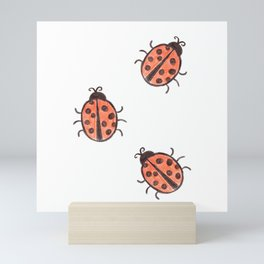 Three Ladybirds Mini Art Print