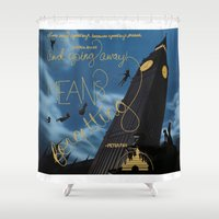 peter pan Shower Curtains featuring Peter Pan by Valeria24