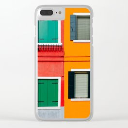Burano details, windows on red and orange walls Clear iPhone Case