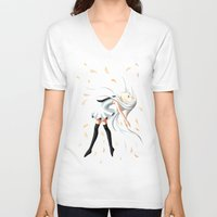 swan queen V-neck T-shirts featuring Swan by Freeminds