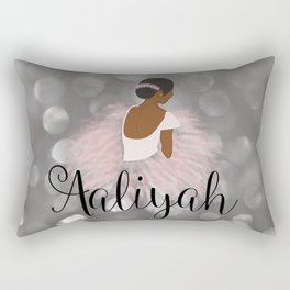 African American Ballerina Dancer Personalized Name AALIYAH Rectangular Pillow