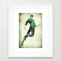 green lantern Framed Art Prints featuring Green Lantern by Ayse Deniz
