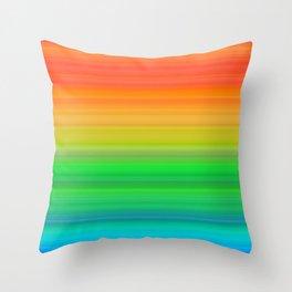Bright Rainbow Stripes Throw Pillow