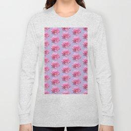 Pink Rose Pattern on Blue Long Sleeve T-shirt