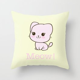 Pastel Kitten Kawaii Throw Pillow