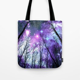 Black Trees Lavender Pink Blue Space Tote Bag
