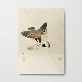 Sparrows chasing bug  - Vintage Japanese Woodblock Print Art Metal Print