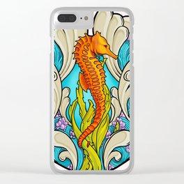 Art Nouveau Seahorse Clear iPhone Case