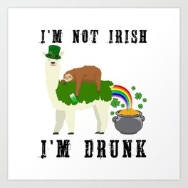 St Patricks Day Llama Sloth Irish Drinking Team Gift Art Print