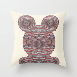 Perception: Checkered red and grey creature Throw Pillow