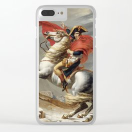 Bonaparte Crossing the Grand Saint-Bernard Pass by Jacques Louis David Clear iPhone Case