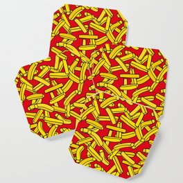 French Fries on Red Coaster