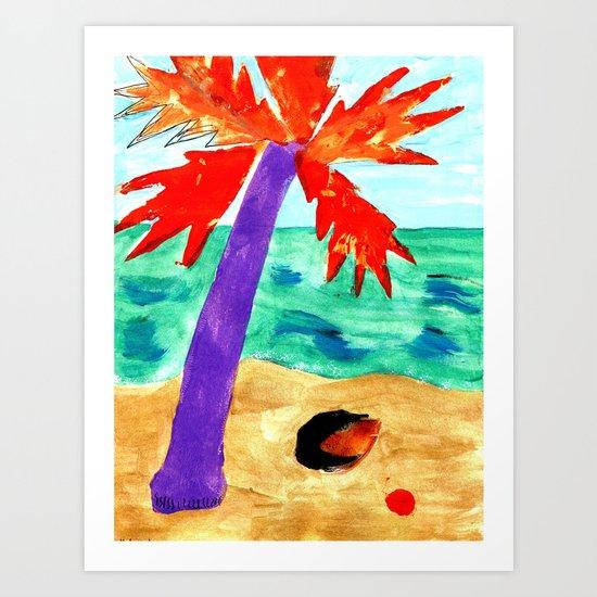 Black Coconut Art Print