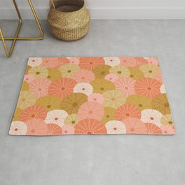 Sea Urchins in Coral + Gold Rug