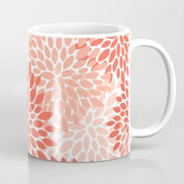 Floral Pattern, Living Coral, Pink Coffee Mug